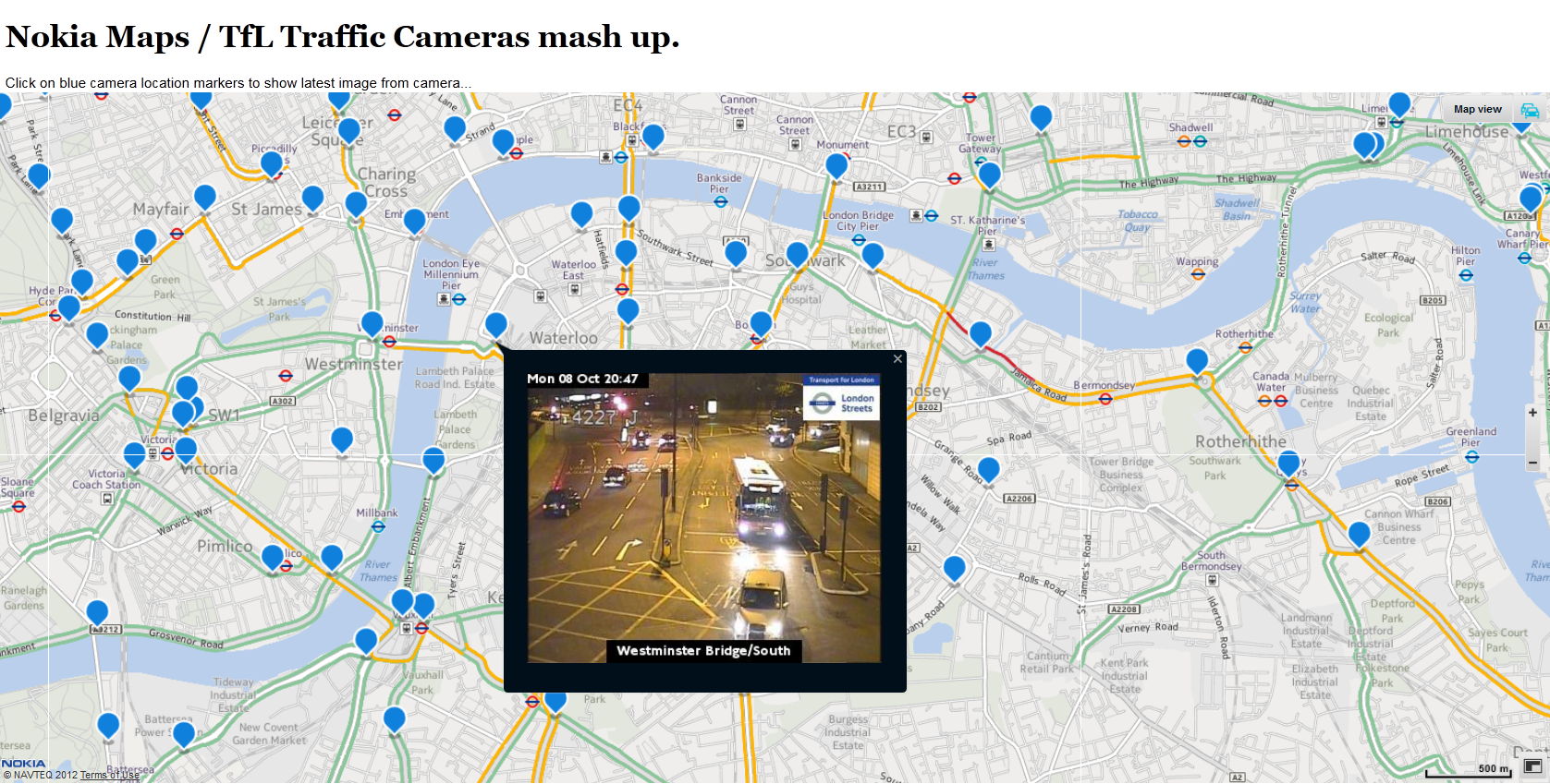 Nokia Maps / TfL Traffic Camera Mashup